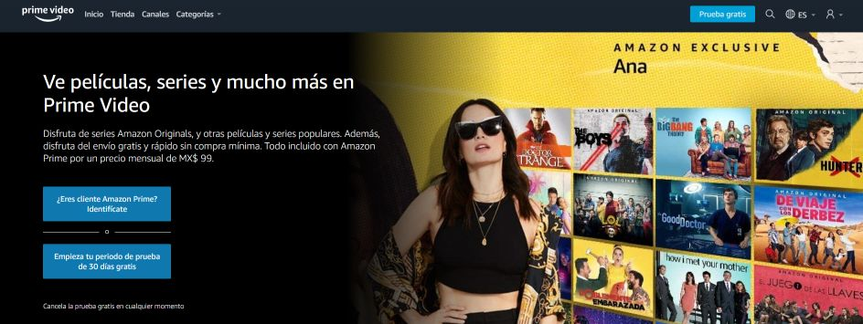 Pantalla de inicio del sitio web Amazon Prime Video