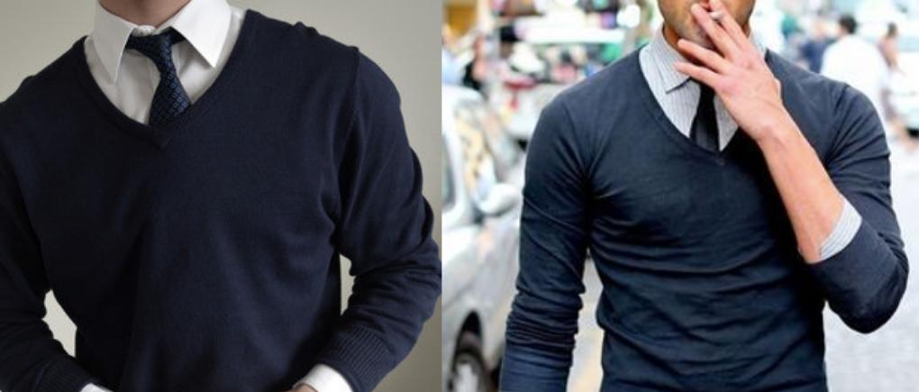 Hombre con camisa y suéter.