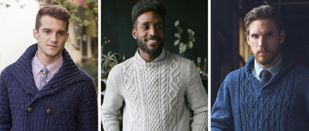 Hombres con distintos suéteres cardigan.