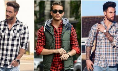 Hombres con camisa de franela.