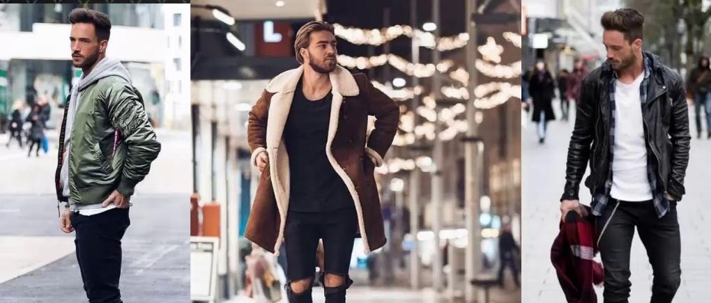 Hombres con ropa para mantenerse abrigados en la noche.
